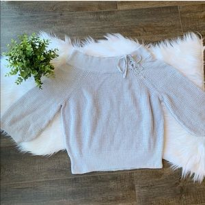 Express knit lace up sweater S